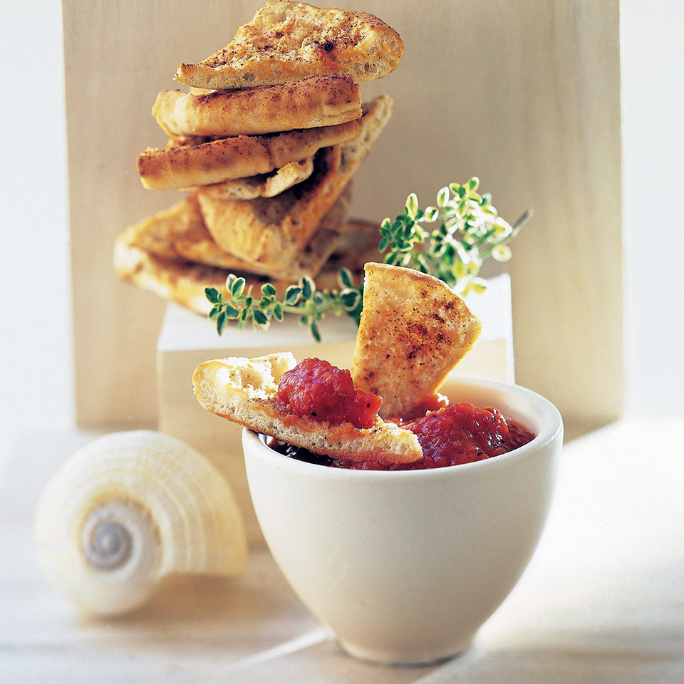 Pita Chips with Red Pepper Dip Diabetic Living Magazine