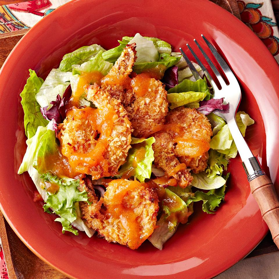 Coconut and Sweet Potato Crusted Shrimp with Honey-Papaya Dipping Sauce Diabetic Living Magazine