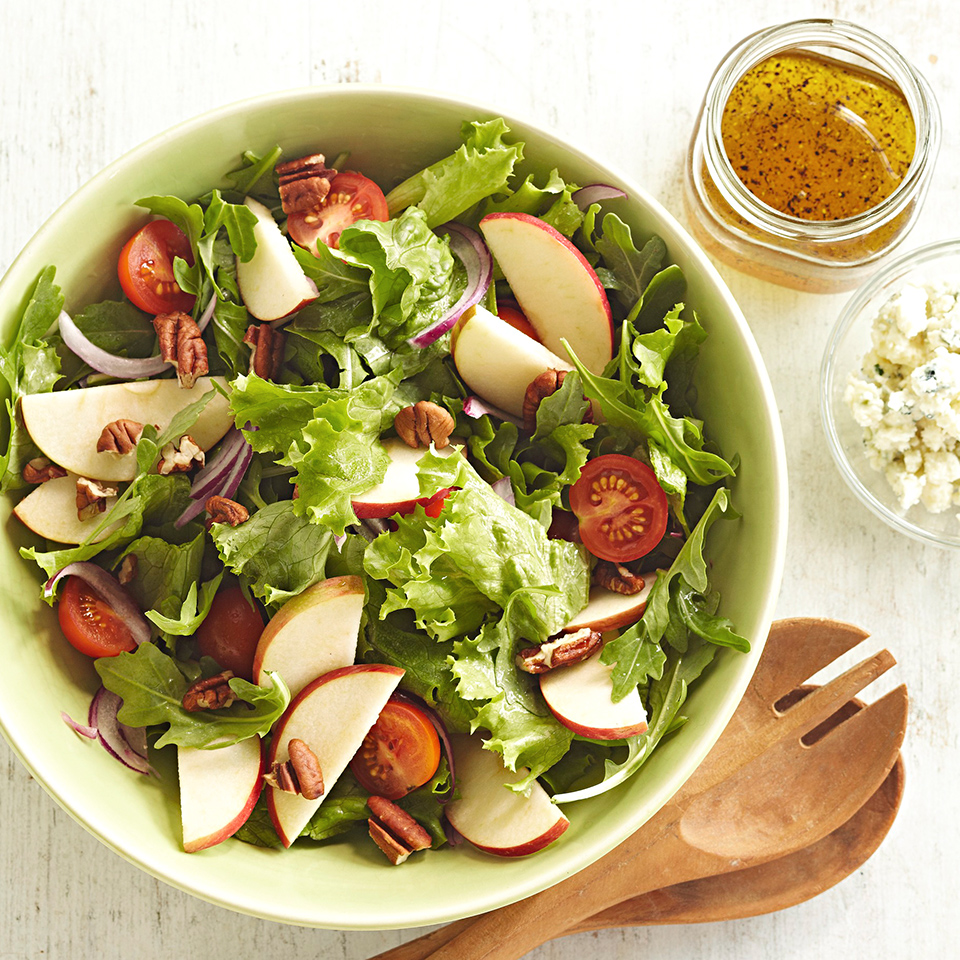 An apple adds sweetness and crunch to a fresh green salad made with cherry tomatoes, pecans, and blue cheese. Source: Diabetic Living Magazine
