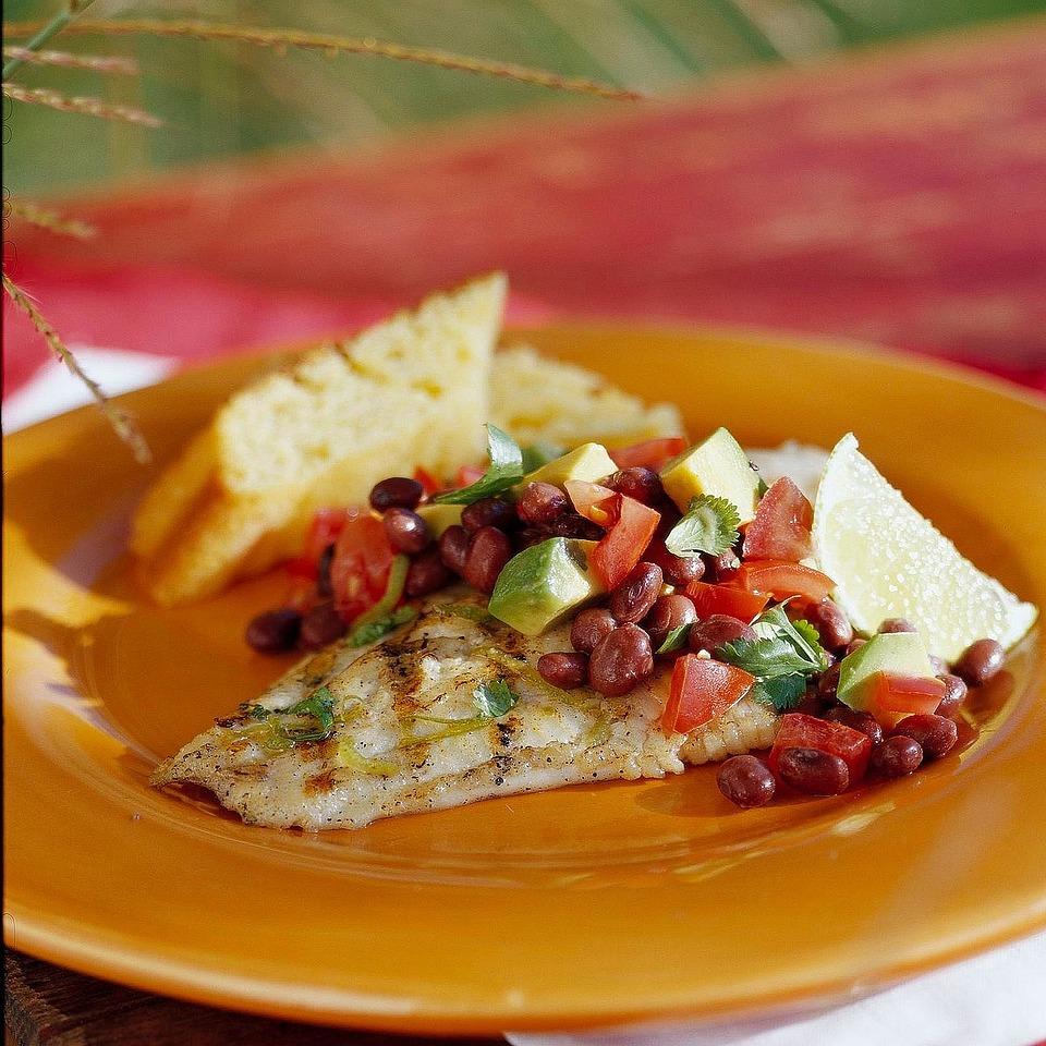 Catfish with Black Bean and Avocado Relish Diabetic Living Magazine