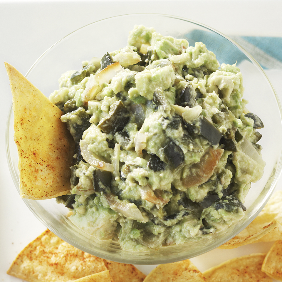 Roasted Poblano Guacamole with Spiced Tortilla Chips Diabetic Living Magazine