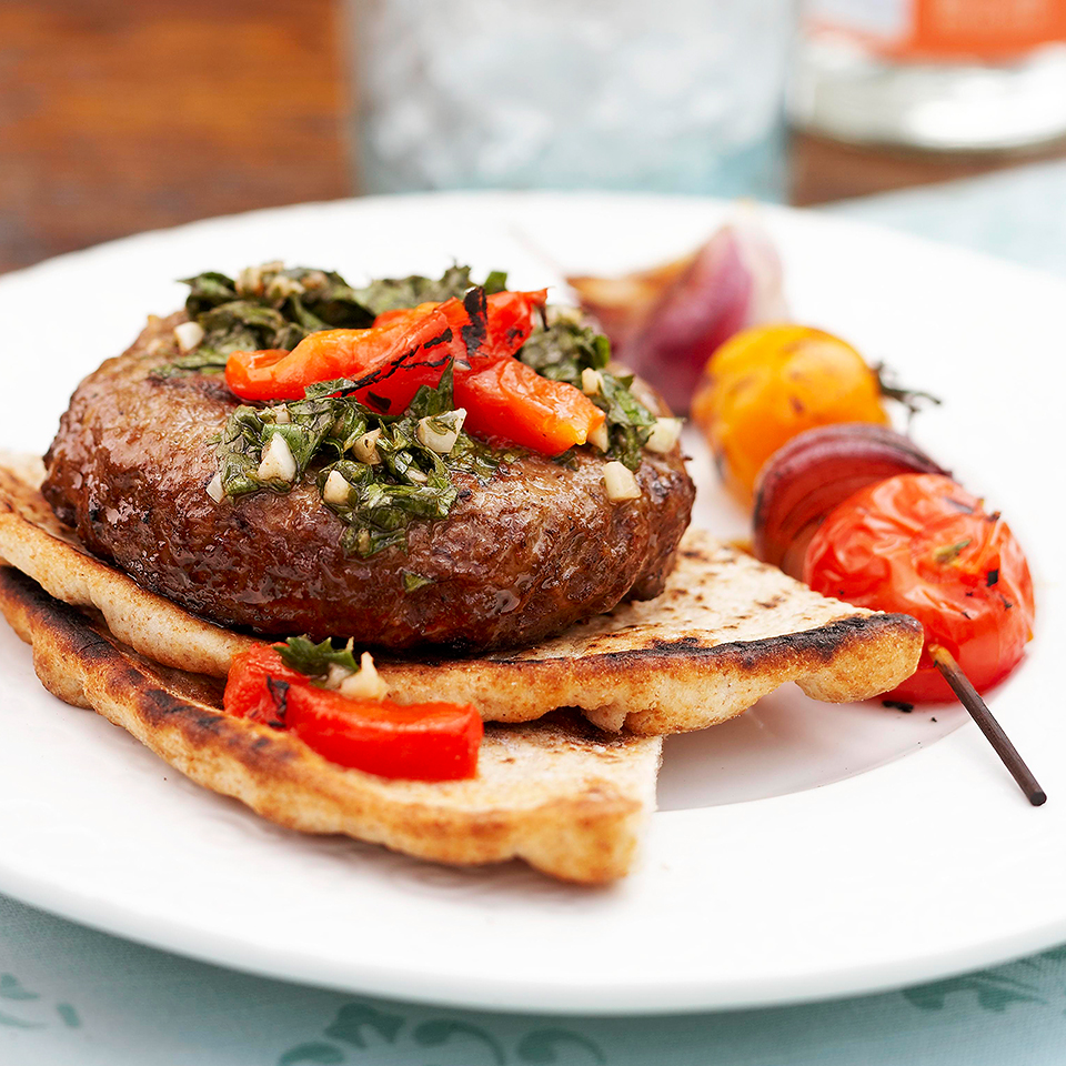 Grilled Chili Burgers with Chimichurri Topping Trusted Brands