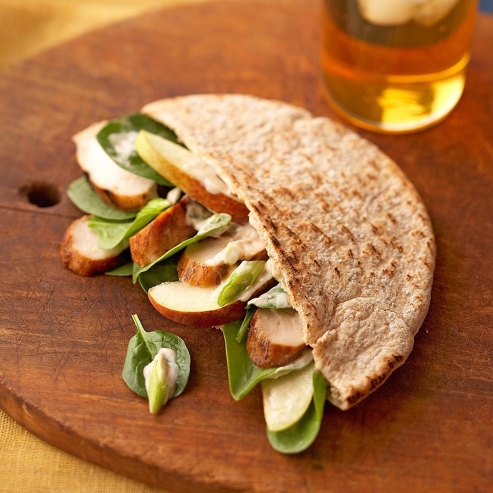 Use warm pita bread to deliciously corral a sophisticated combination of spinach, pear and chicken. Top with a robust goat cheese sauce. Source: Diabetic Living Magazine