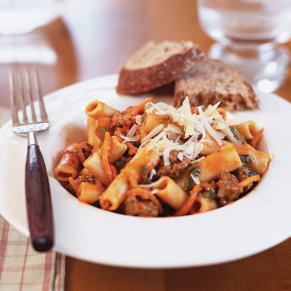 The 95-percent-lean ground beef helps lower the fat and calories in this hearty pasta dinner. Using whole wheat ziti boosts the fiber. Source: Diabetic Living Magazine