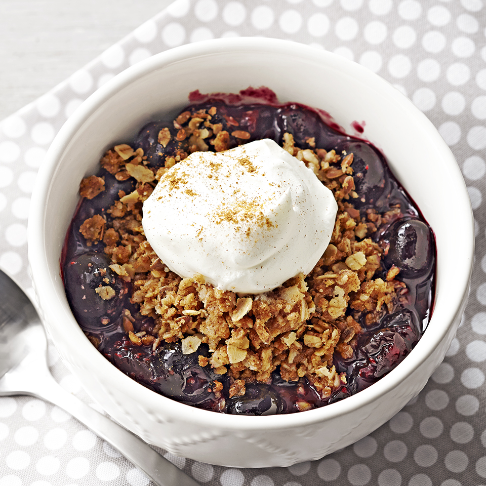 When you're hankering for a quick, sweet little treat, try this easy berry cobbler you microwave in a mug. Source: Diabetic Living Magazine