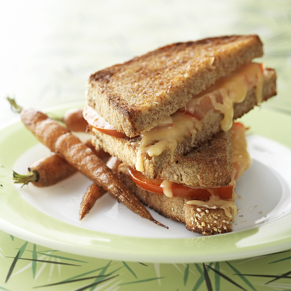 A classic grilled cheese sandwich is dressed up with slices of fresh tomato. Lunch was never so quick and easy. Source: Diabetic Living Magazine