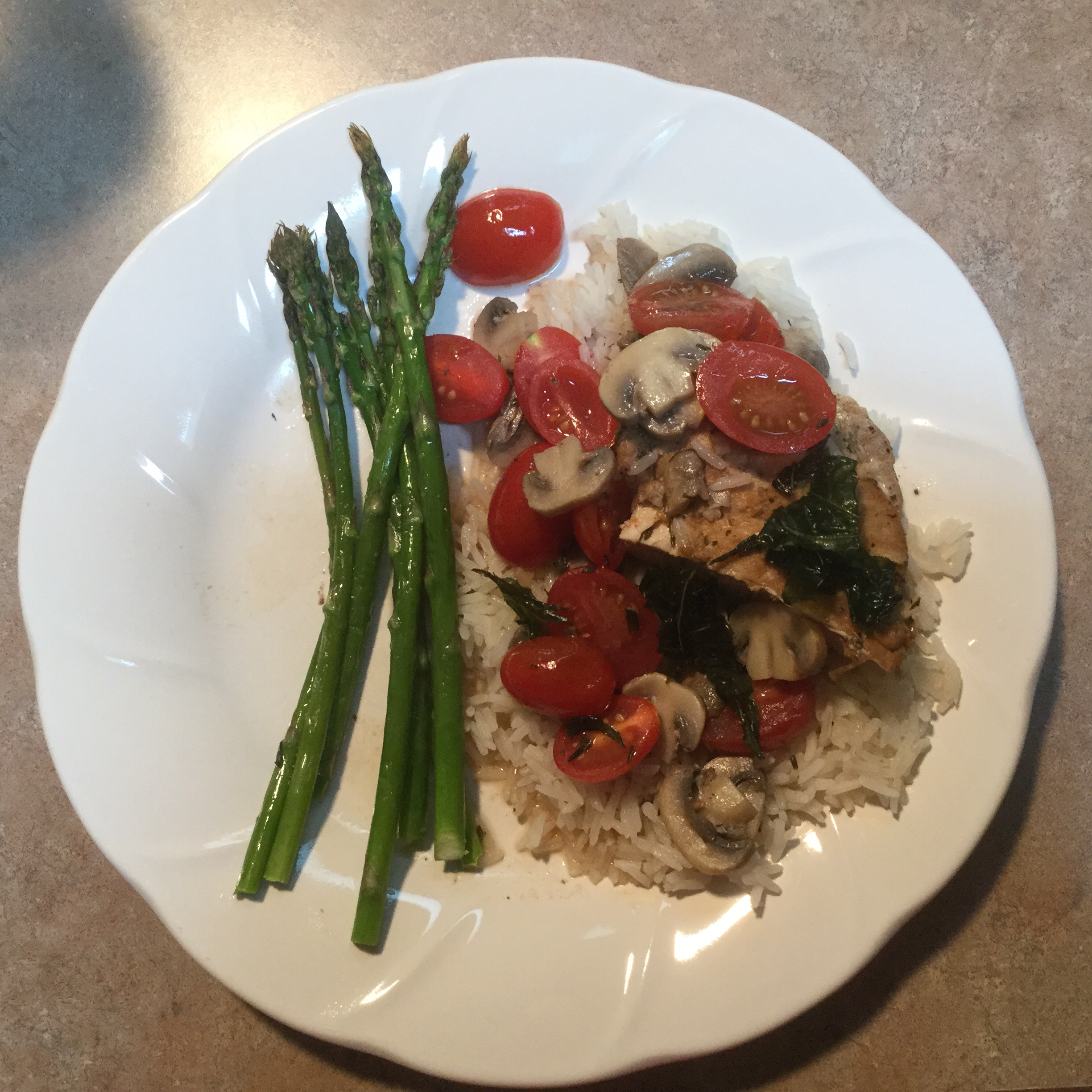 Chicken with Grape Tomatoes and Fried Basil Marti