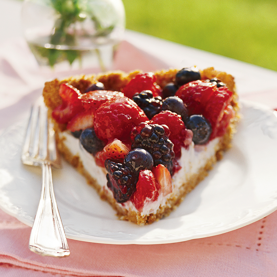 This healthy pie recipe is made with fresh berries, a slimmed-down zwieback crumb crust, and a tangy yogurt filling and then served with mint sprigs and a colorful low-calorie fruit glaze. Source: Diabetic Living Magazine