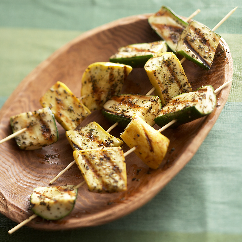 Add these side dish squash kabobs to the grill alongside your meat or chicken and dinner will be ready that much faster! Source: Diabetic Living Magazine