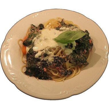 three cheese pasta with greens recipe