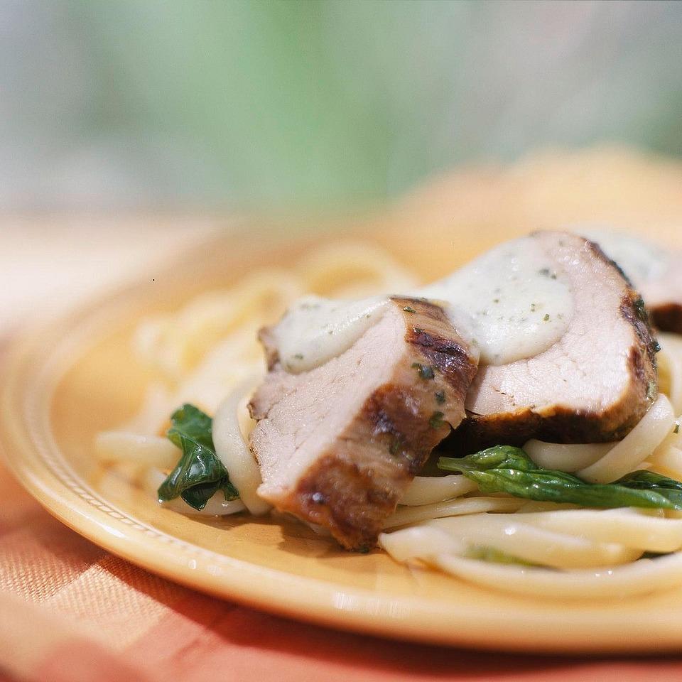 Pork Loin with Creamy Pesto Sauce Diabetic Living Magazine