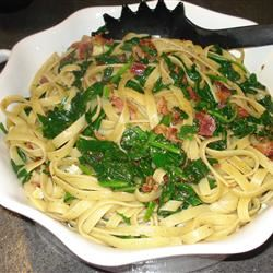 Linguine with Spinach and Brie fausterlady