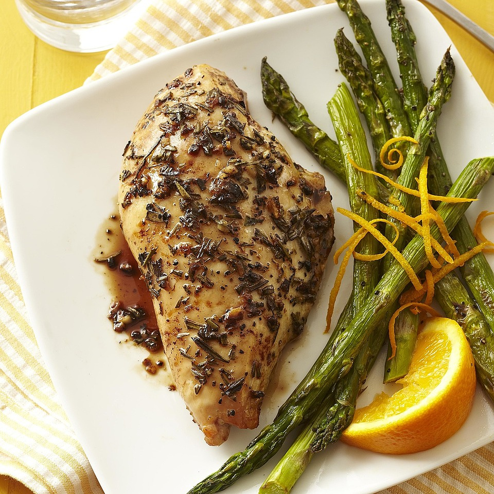 Balsamic Chicken with Roasted Orange Asparagus Diabetic Living Magazine