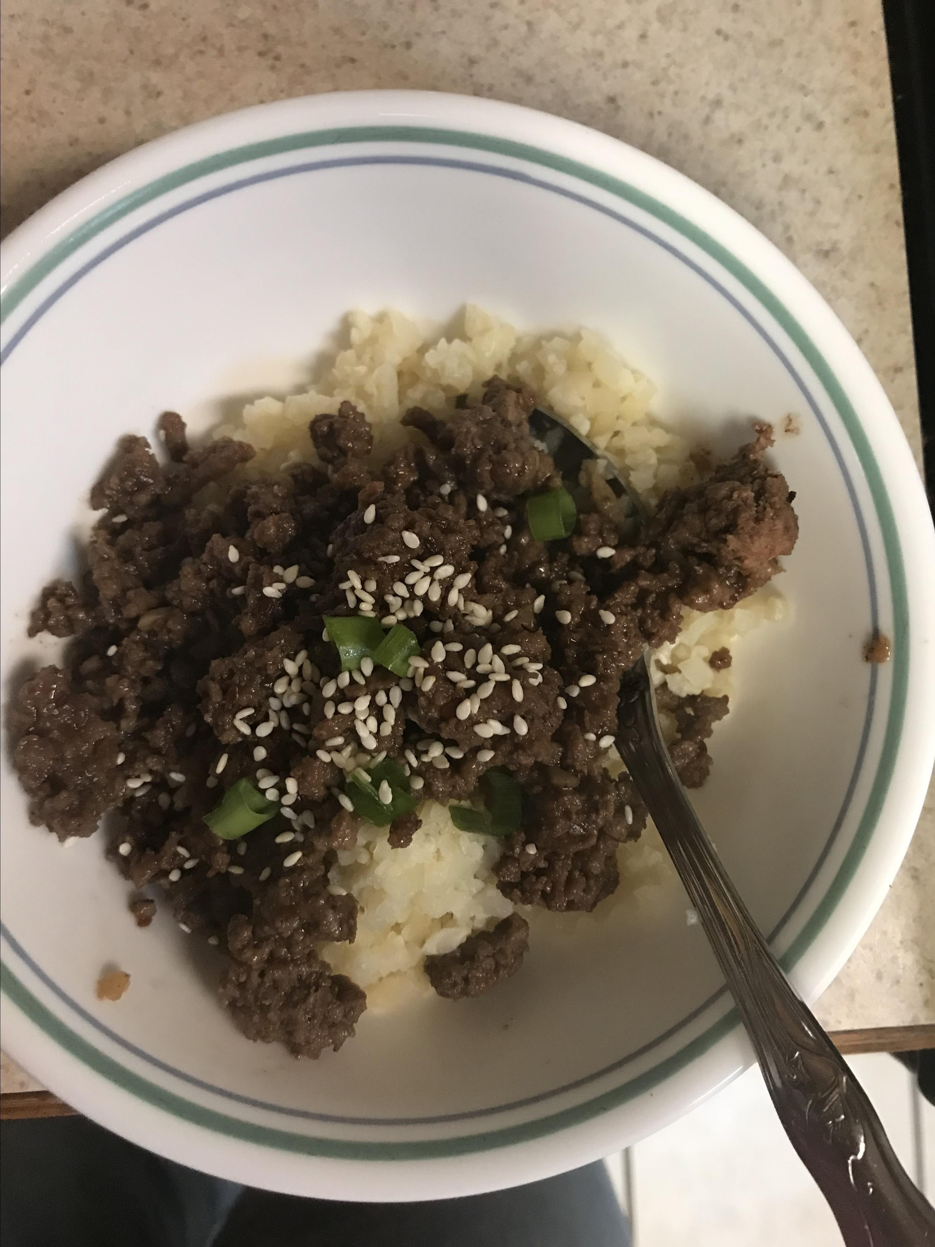 Easy Keto Korean Beef with Cauli Rice cindy logan