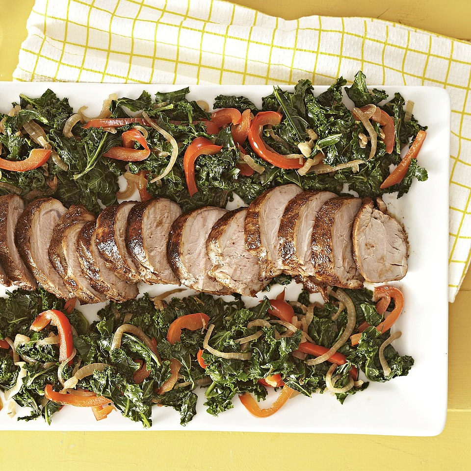 Cocoa Roasted Pork with Wilted Kale Diabetic Living Magazine
