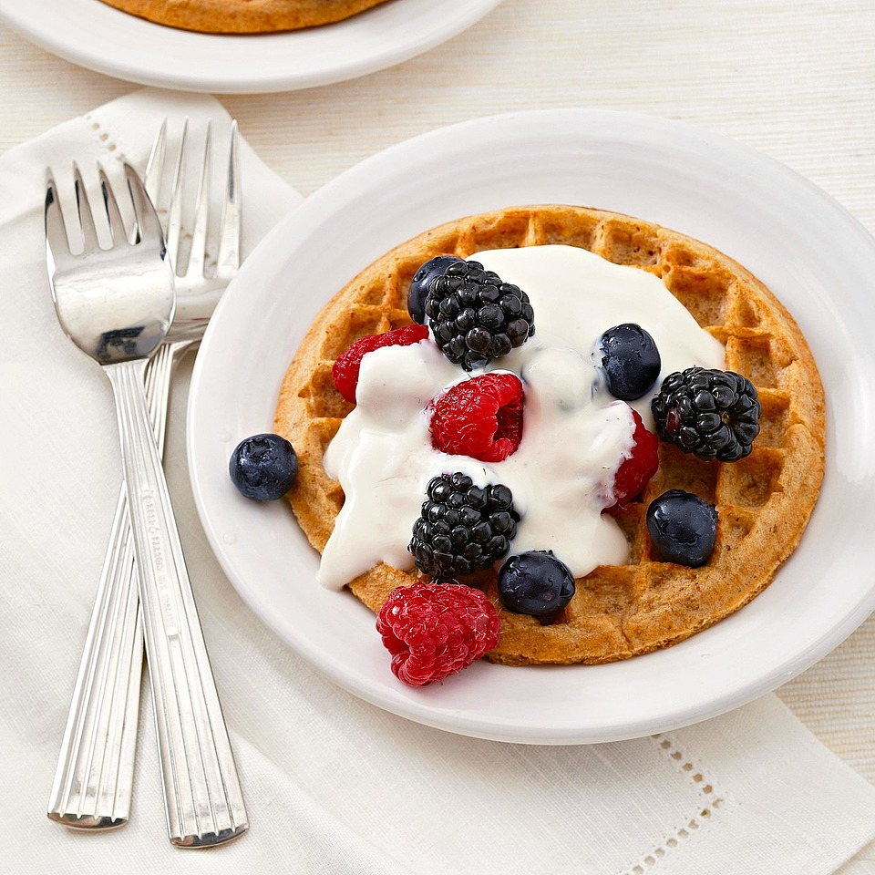 Maple Berry-Topped Waffles
