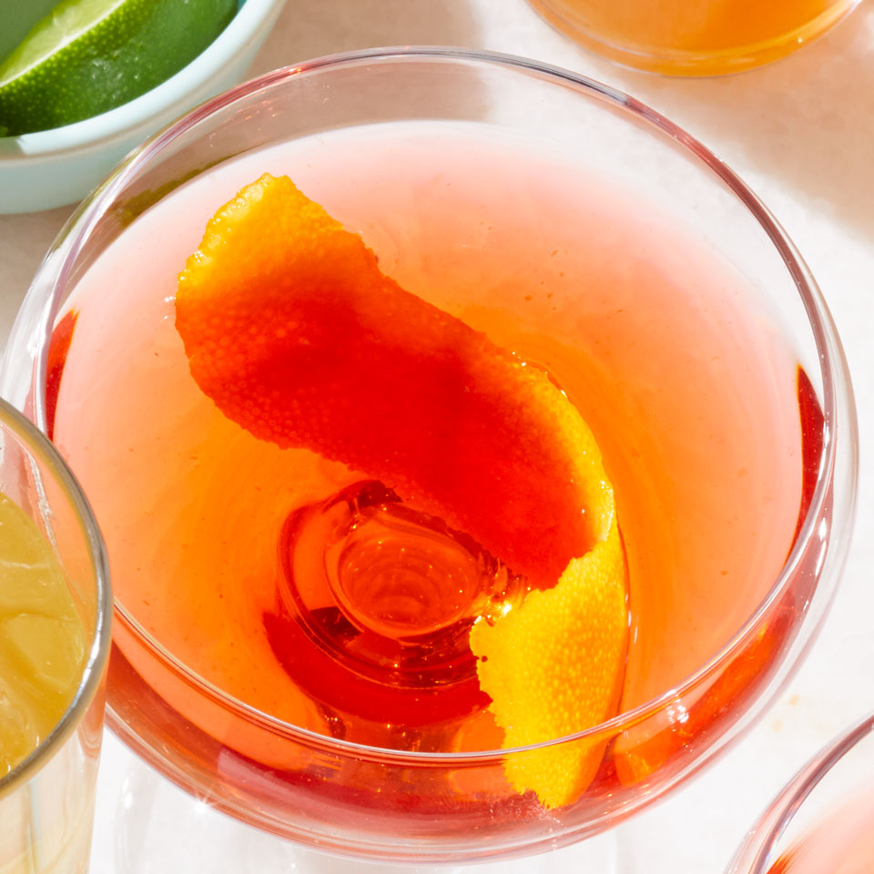 This variation on the classic Bamboo cocktail starts with two types of fortified wine--sherry and vermouth--then adds a slug of Campari for bright color and bitter edge. Opt for an aged dry sherry, like fino or manzanilla, for the best flavor in this drink recipe. Source: EatingWell Magazine, July/August 2018