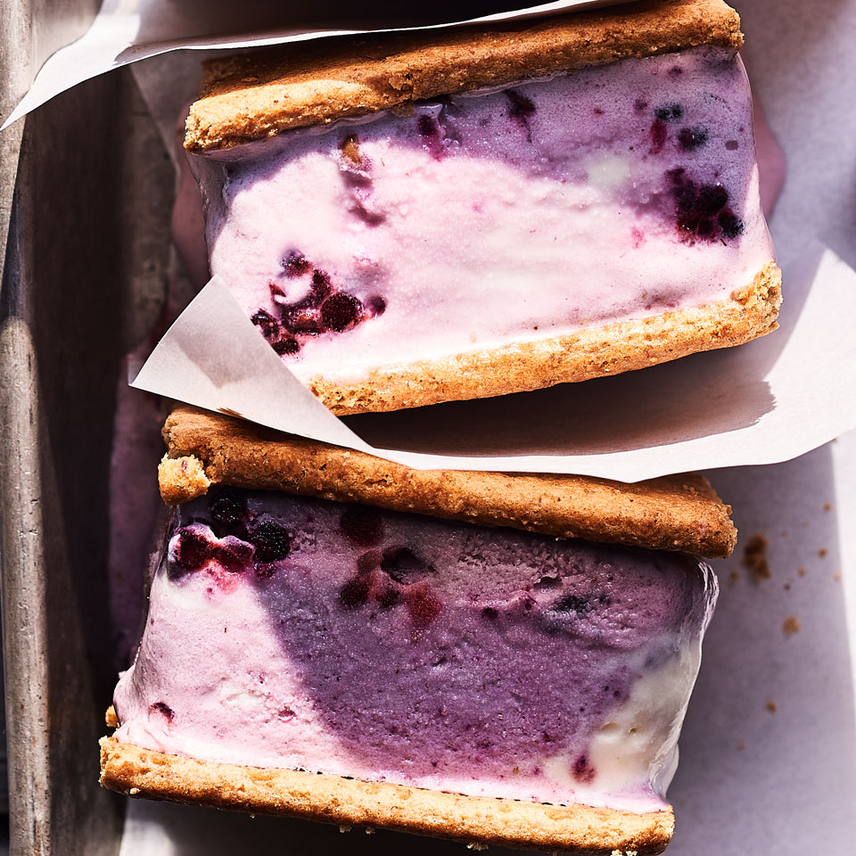Blackberry-Ginger Ice Cream Sandwiches Julia Clancy