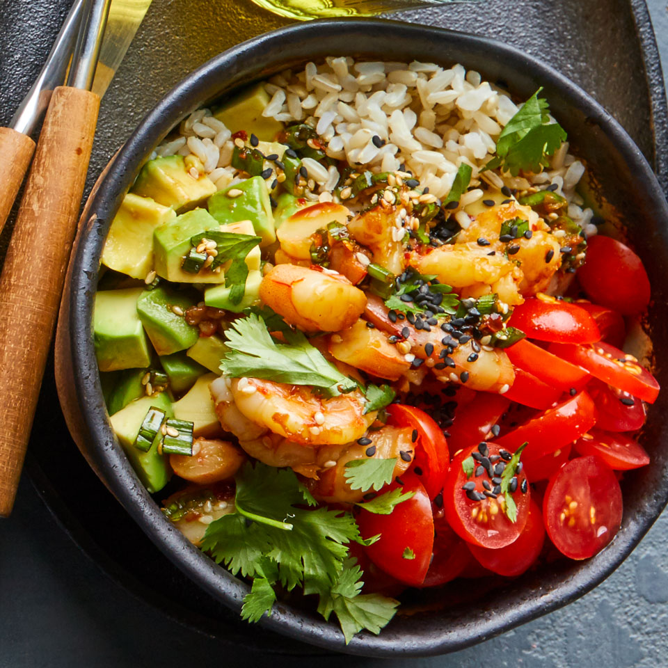 Not a fan of raw fish? No problem—this poke (pronounced poke-ay) recipe substitutes cooked peeled shrimp instead. This fast, veggie-loaded dish includes seasoned brown rice for a hearty boost of fiber.