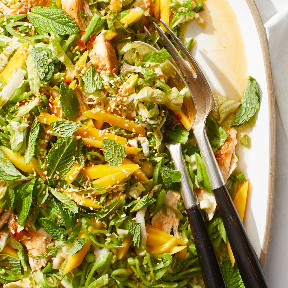 This Asian-inspired dinner salad has terrific crunch, thanks to sugar snap peas and napa cabbage. Give the dressing a kick of heat by adding a bit of sambal oelek, an Indonesian hot sauce that you can find in most large supermarkets and Asian grocery stores. Source: EatingWell Magazine, July/August 2018