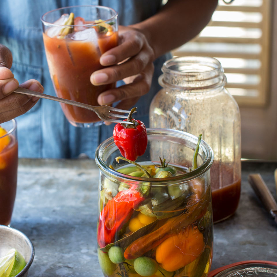 Bloody Mary Garnishes by the Jar Vivian Howard