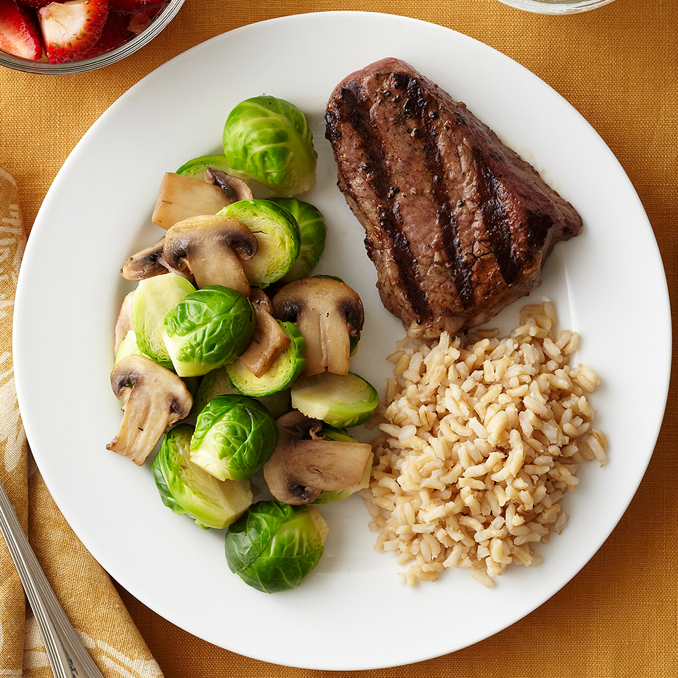 Your traditional steak and potato dinner gets a makeover in this recipe by swapping starchy potatoes for whole-grain brown rice. Be wary of your portion size for steak, it should be about the size of a deck of cards. Source: Diabetic Living Magazine