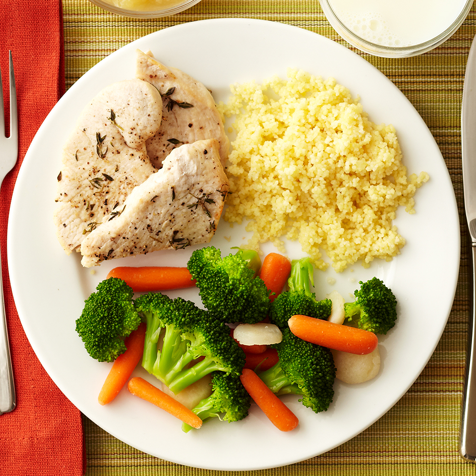 Turkey and couscous come together beautifully when paired with a vegetable medley. To give this recipe an Indian twist, season the turkey breast with curry powder or an Indian Spice Rub before grilling or roasting, and toss pine nuts into the cooked couscous. Source: Diabetic Living Magazine