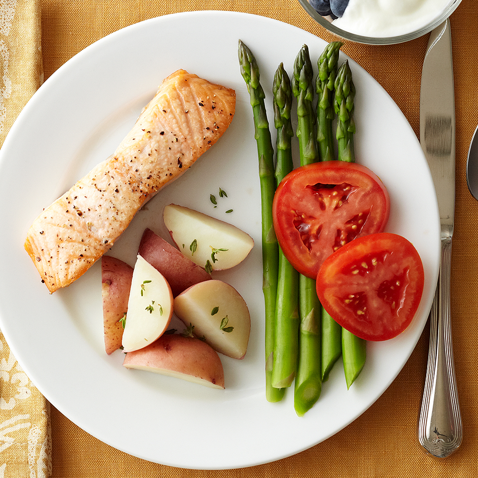 This quick-and-easy recipe is loaded with bold flavors and combines heart-healthy salmon with roasted or grilled asparagus. We recommend roasting or grilling the salmon and asparagus together to save time. To ramp up the flavor in this dish, use a dab of extra-virgin olive oil, snipped fresh parsley, finely shredded lemon peel, and ground black pepper. Source: Diabetic Living Magazine