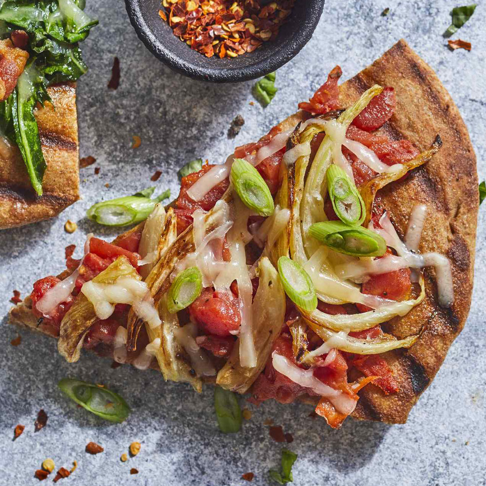 You can make healthy veggie-packed pizza in just 15 minutes with store-bought pizza dough, a few simple ingredients and a hot grill. Slice the fennel as thinly as possible--it'll caramelize and melt into the creamy, nutty fontina cheese. Source: EatingWell Magazine, May/June 2018