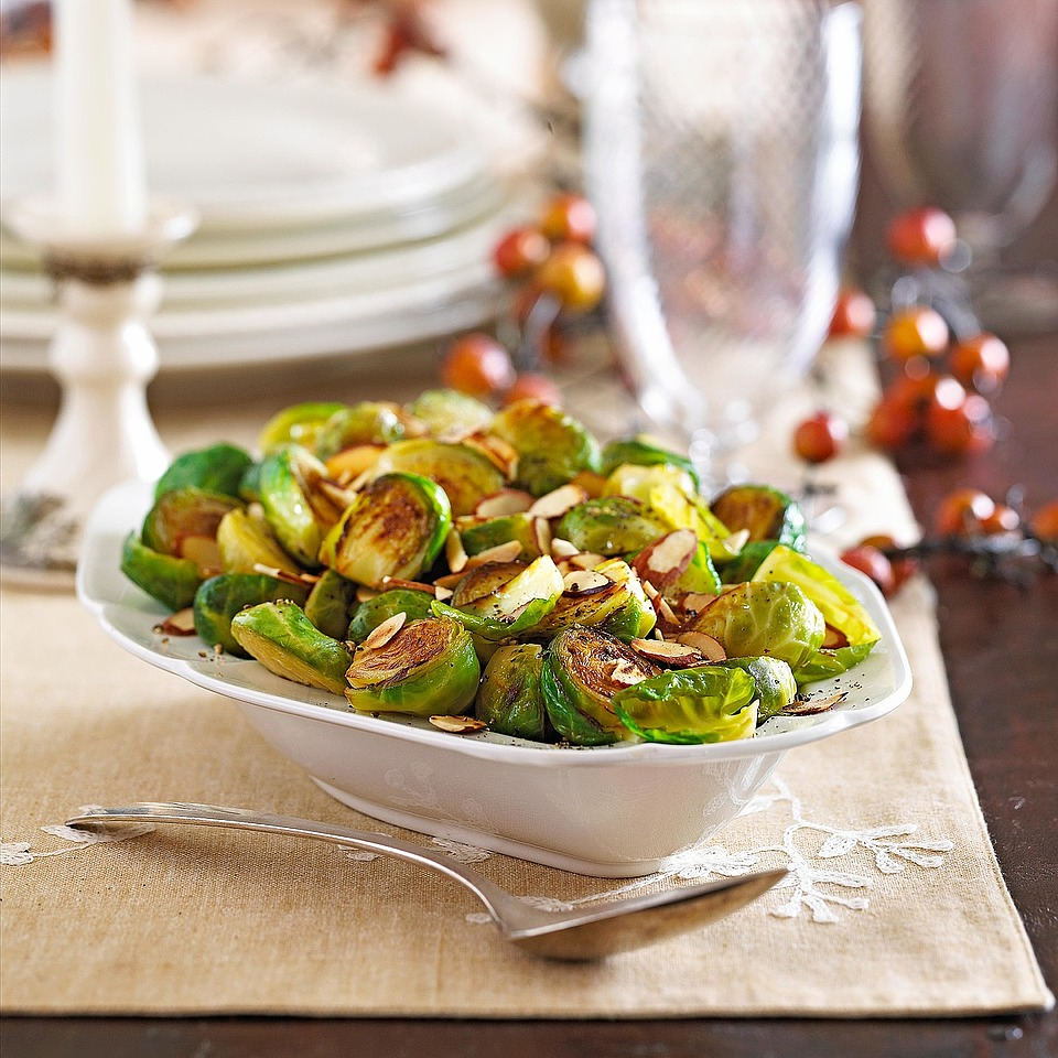 This skillet-browned Brussels sprouts recipe is a tasty accompaniment for all types of Christmas main dishes including roast beef, pork, or lamb as well as turkey or chicken.