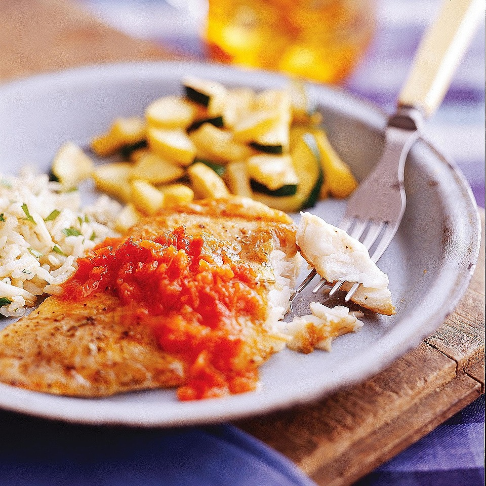 Catfish with Red Pepper Sauce Diabetic Living Magazine