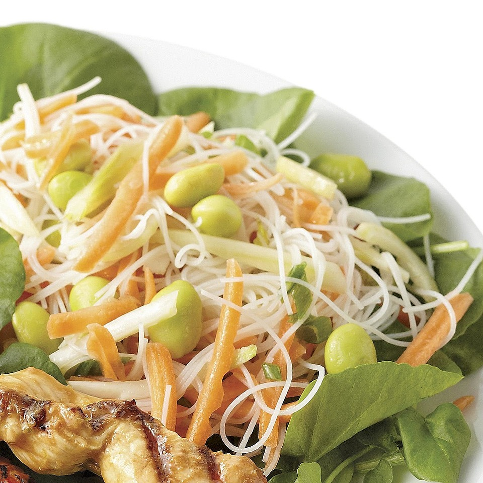 Served on a bed of watercress and topped with a slightly spicy sesame dressing, this fresh-tasting edamame and vermicelli salad is a perfect side dish for whatever meat or fish you've got on the grill. Source: Diabetic Living Magazine