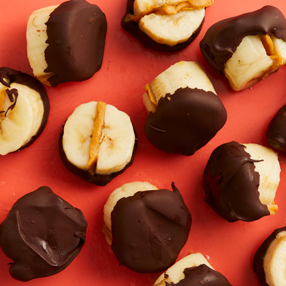 These bite-size frosty morsels of frozen banana, peanut butter and vegan chocolate make a perfect low-calorie snack or easy dessert. These banana bites store well in the freezer, so make some ahead and keep them on hand for those moments you crave a taste of something sweet. Source: EatingWell.com, June 2018