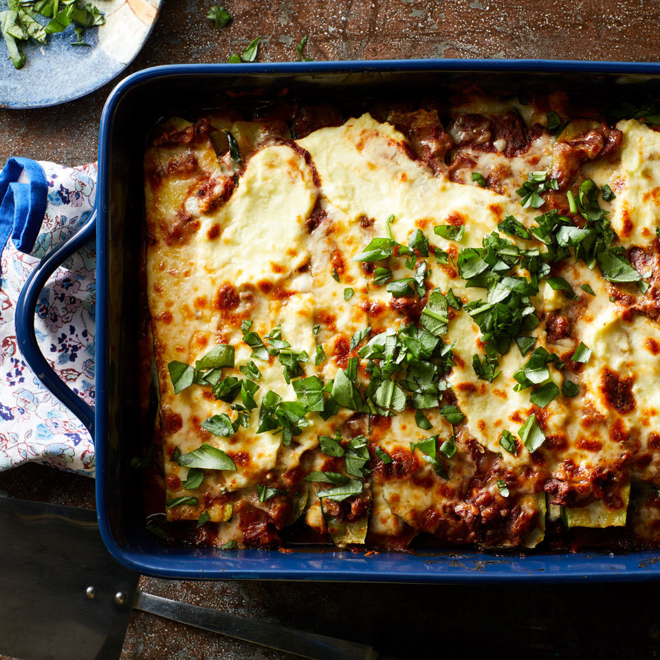 Roasted zucchini slices stand in beautifully for wheat pasta in this no-noodle lasagna. The simple swap reduces calories and eliminates gluten. It's also a great way to use up extra zucchini if your plants are prolific.