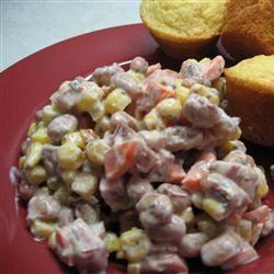 Spicy Creamy Cajun Ham and Black Eyed Peas Salad