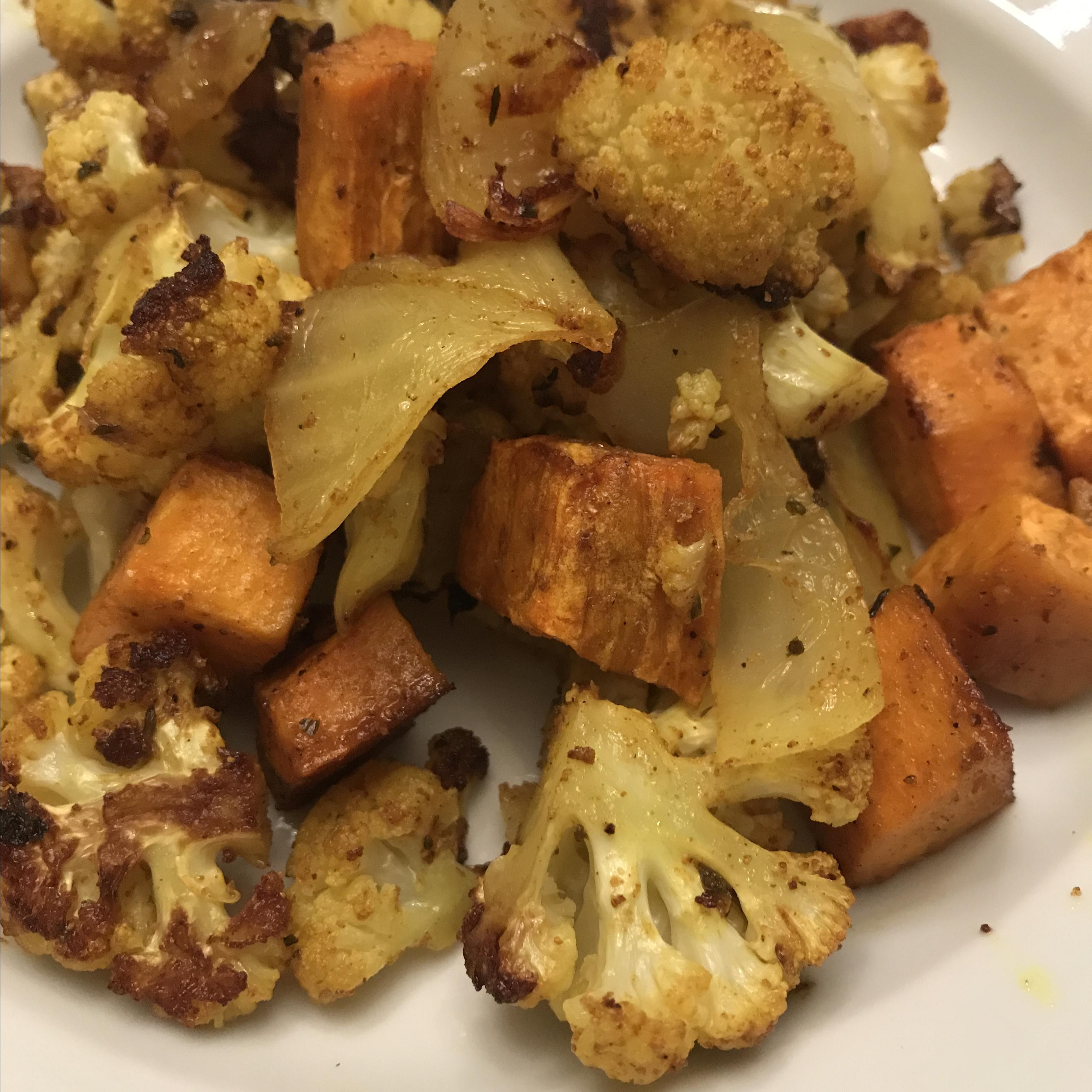 Roasted Curry-Spiced Sweet Potatoes and Cauliflower