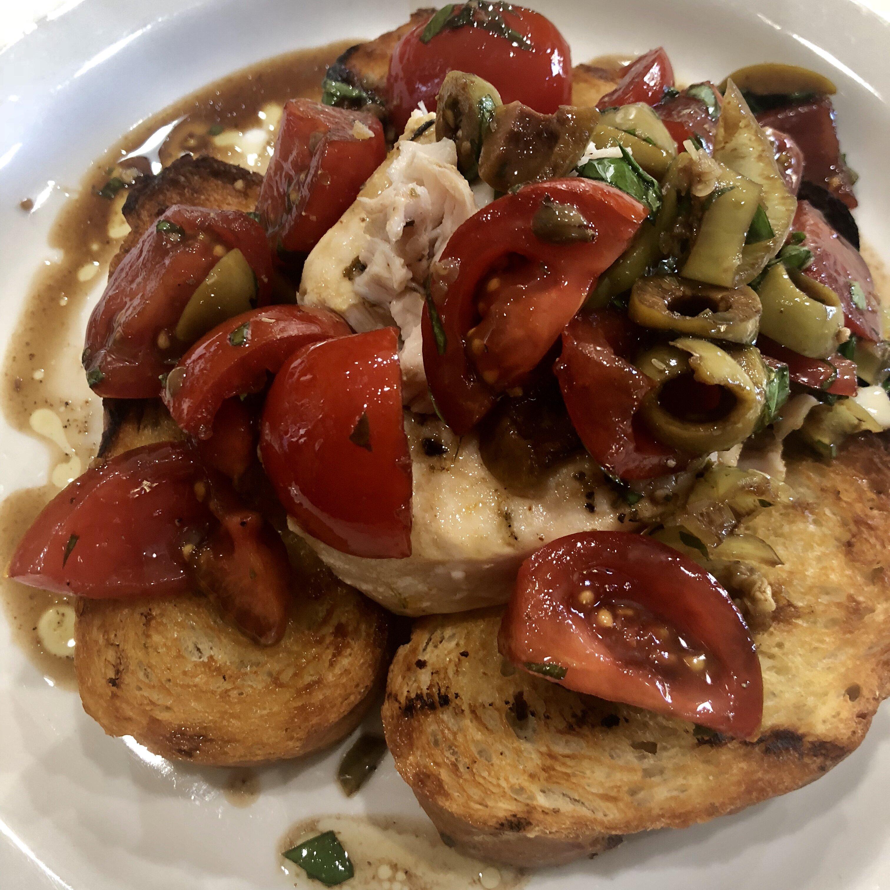 chef johns grilled swordfish bruschetta