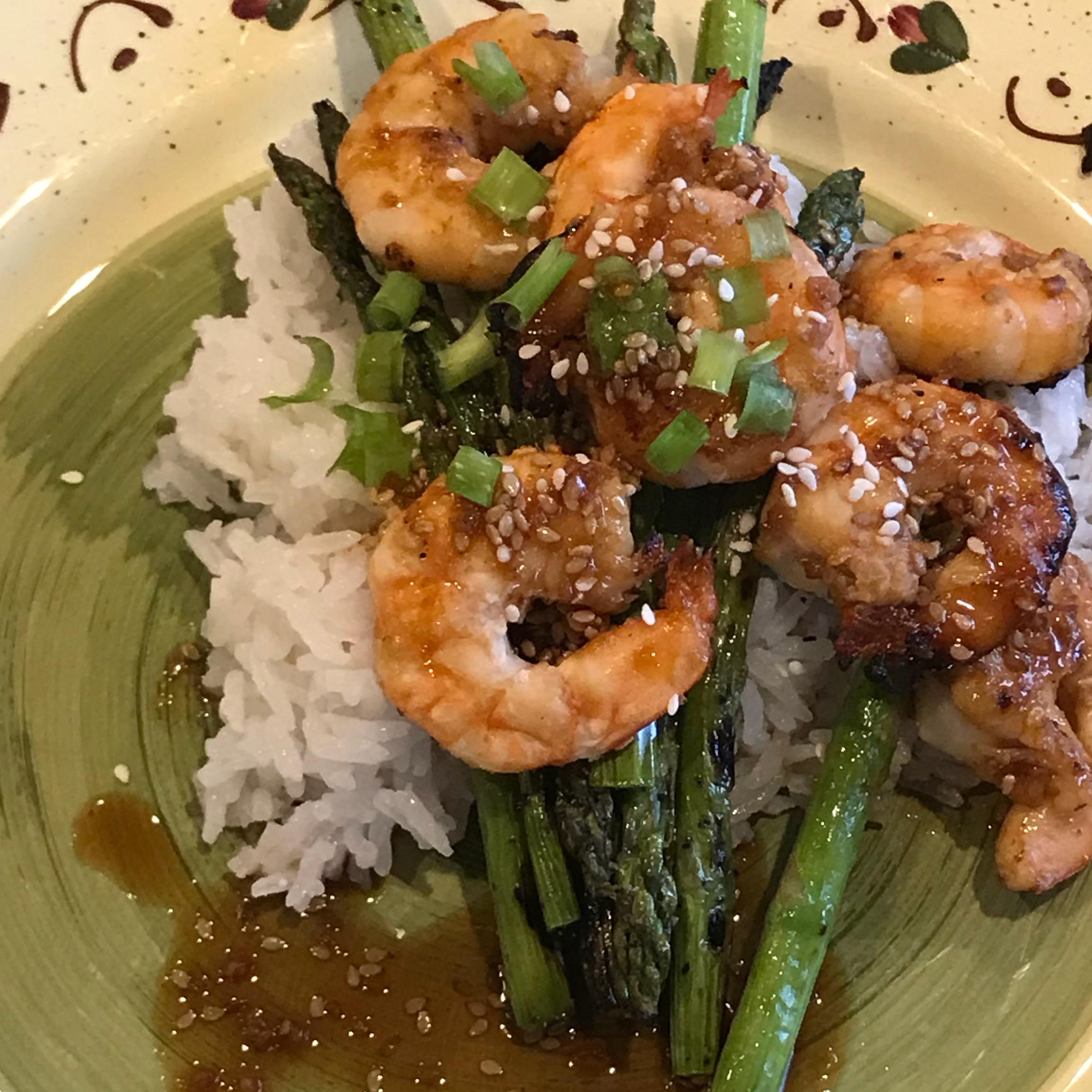 Grilled Teriyaki Prawns with Asparagus and Coconut Rice Dangerous Dan