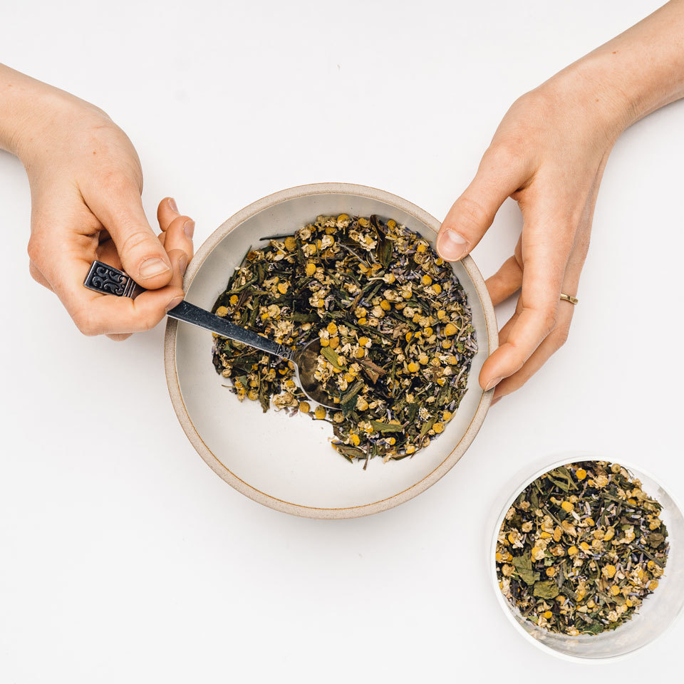 The scent alone of this stress-relieving tea will lead you to relaxation. Mint is a wonderful stomach soother and aids in digestion. Chamomile and lavender help prevent insomnia and serve as a great combination to sip before bed.