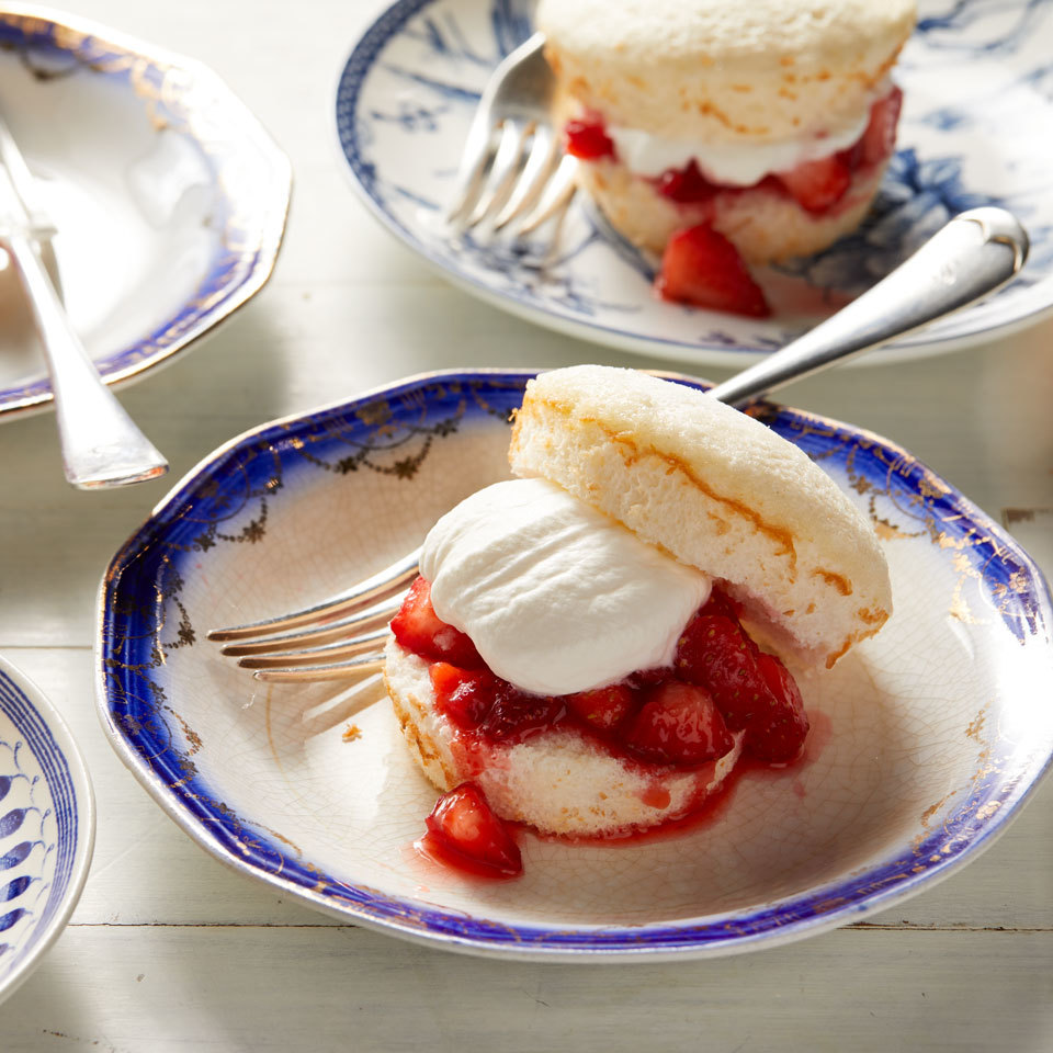 These adorable strawberry shortcakes are made with mini angel food cakes. These single-serve desserts are perfect for a picnic or party on a warm summer day. Source: EatingWell.com, July 2018
