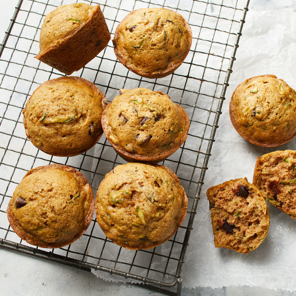 Zucchini muffins with chocolate chips are sure to be a hit with children and adults alike. Shredded zucchini adds loads of moisture, and chocolate chips provide a hint of sweetness for the perfect breakfast or snack. Source: EatingWell.com, July 2018