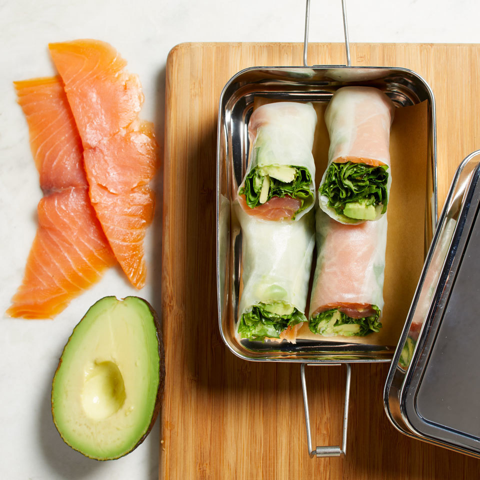 Spring rolls are surprisingly easy to make. Better yet, they're incredibly versatile. Smoked salmon and avocado are a classic spring roll combination for an easy healthy lunch to pack for work--or whip some up for a light party appetizer. Source: EatingWell.com, July 2018