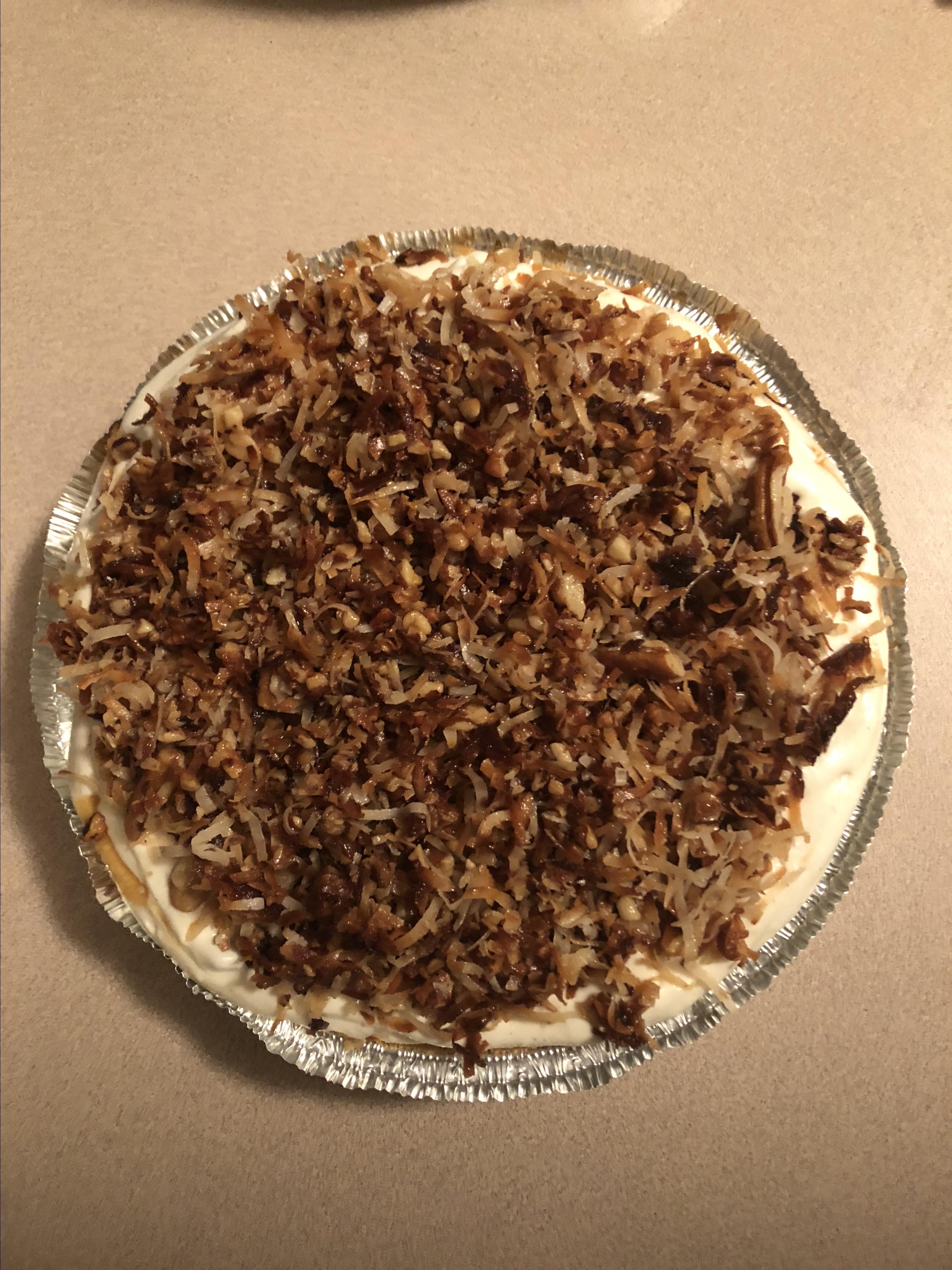 Freezer Caramel Drizzle Pie FoodieSupreme