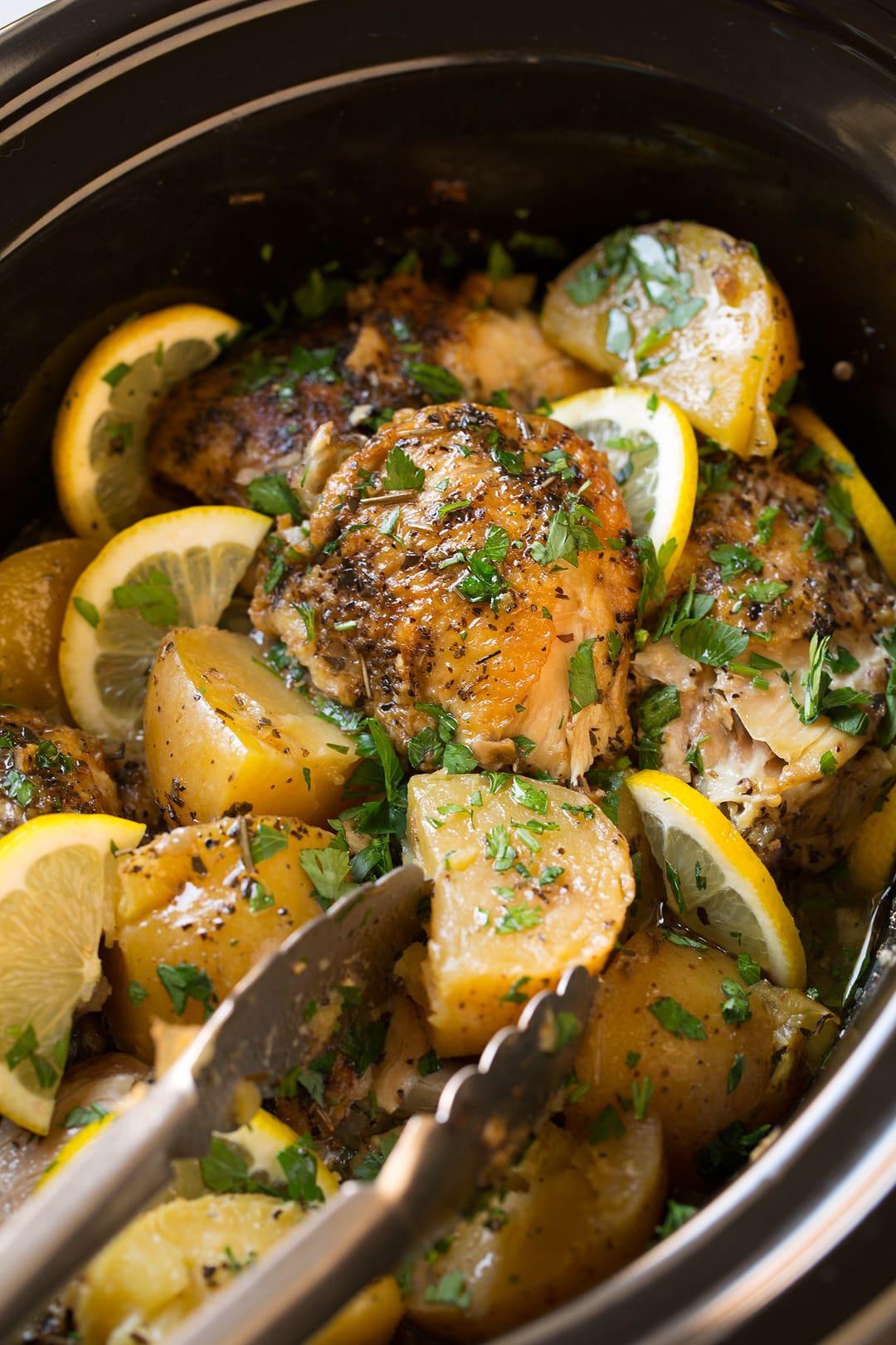 Greek Lemon-Garlic Chicken Thighs and Potatoes Virginia Vohasek