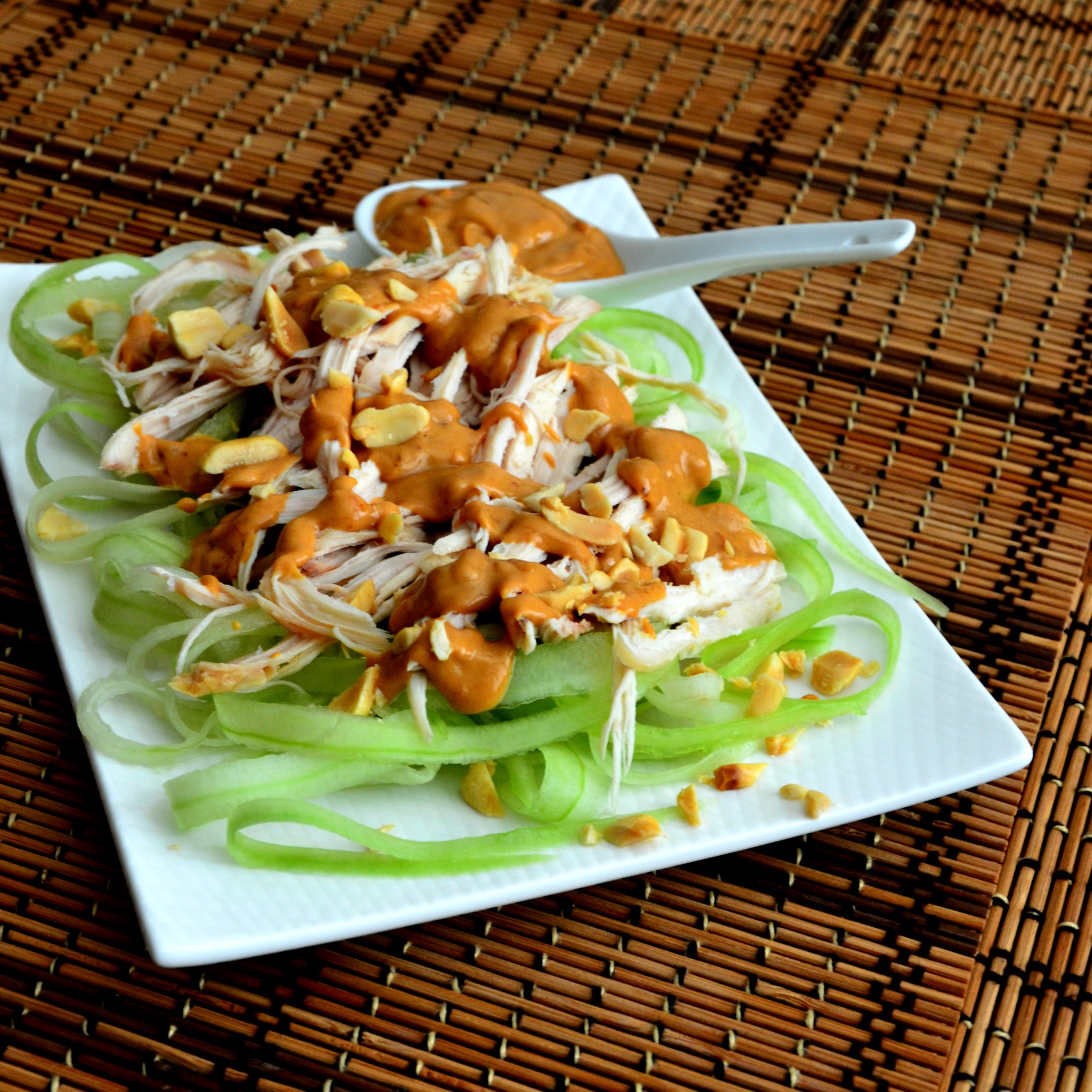 Cucumber Chicken Salad with Spicy Peanut Dressing Baking Nana
