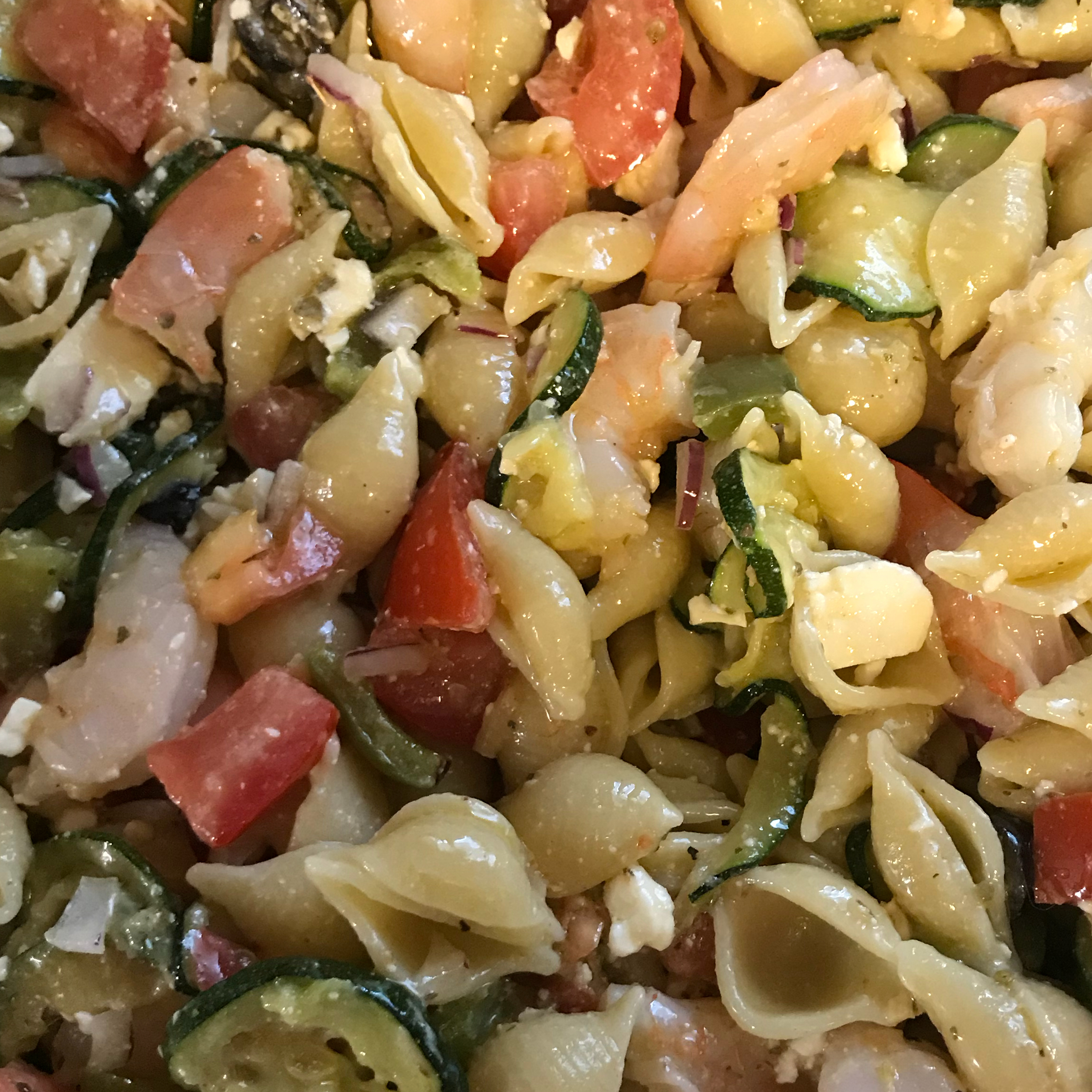 Greek Pasta Salad with Shrimp, Tomatoes, Zucchini, Peppers, and Feta Charisma138