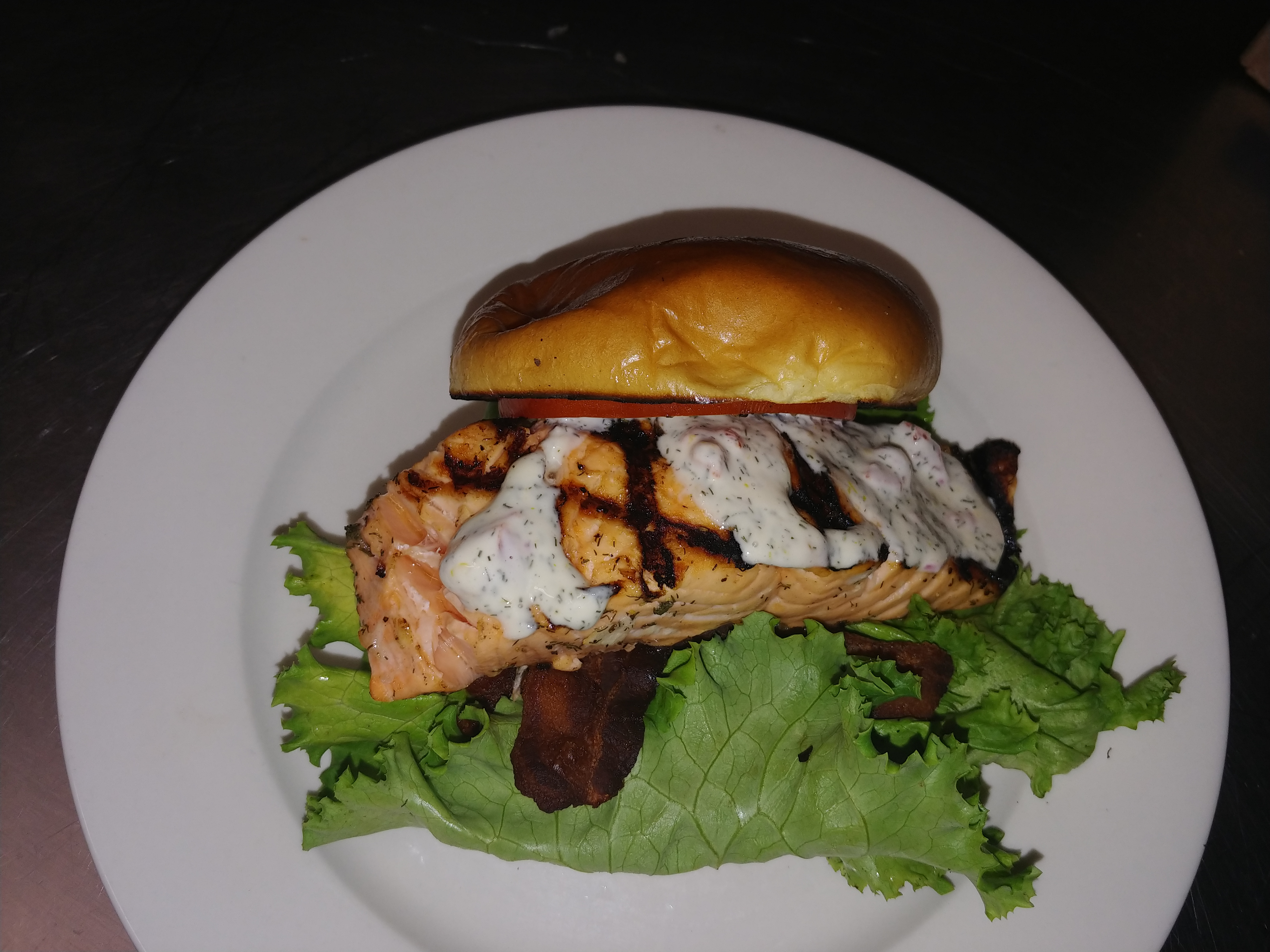 Grilled Salmon Sandwich with Dill Sauce Nathan Byrum