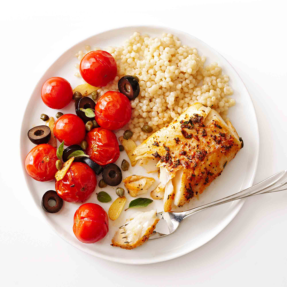 Oregano, thyme and paprika flavor the cod in this 15-minute, Mediterranean-inspired meal. Olives, capers and roasted cherry tomatoes add color and zest to each bite.