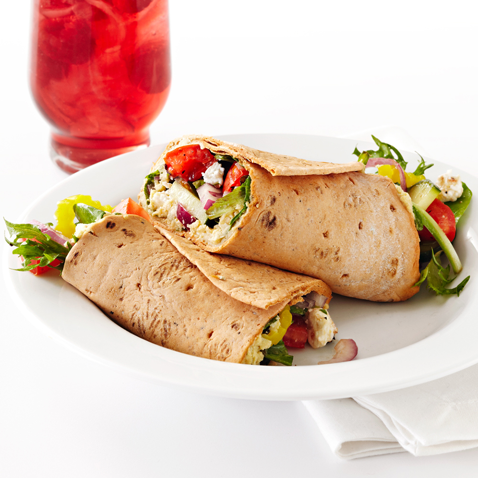 These healthy multi-grain wraps are filled with mixed greens, chopped cucumber, tomato and red onion, as well as feta cheese and a homemade cilantro hummus. As a time saver, the hummus can be prepared up to 3 days ahead, and chilled until you're ready to make the wraps. Source: Diabetic Living Magazine