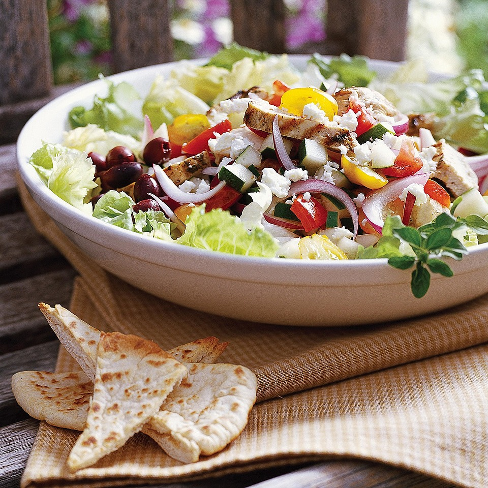 This Greek-inspired, main-dish chicken salad is enhanced with feta cheese, tomatoes and kalamata olives and served with a low-fat cucumber dressing. Source: Diabetic Living Magazine